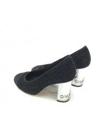 Женские туфли Chanel (Шанель) Cruise твид на каблуке Black