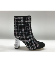 Ботильоны женские Chanel (Шанель) Cruise твидовые на каблуке толстом Black