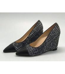 Женские туфли Chanel (Шанель) Cruise твидовые на танкетке Gray/Black