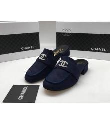Женские мюли Chanel (Шанель) Cruise замшевые на низком каблуке Blue