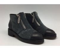 Ботинки женские Chanel (Шанель) Dark Grey/Black