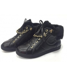 Зимние с мехом кроссовки женские Chanel (Шанель) Black