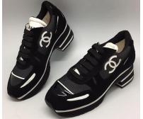Кроссовки женские Chanel EX (Шанель) на каблуке Спорт Black