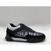 Женские кроссовки Chanel (Шанель) EX Sport текстиль на шнуровке Gray