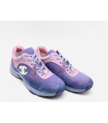 Женские кроссовки Chanel (Шанель) EX Sport замшевые с логотипом на шнурках Purple