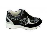 Женские кроссовки Chanel EX (Шанель) White/Black/Silver