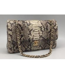 Женская сумка Chanel (Шанель) Grey/White (ПИТОН)