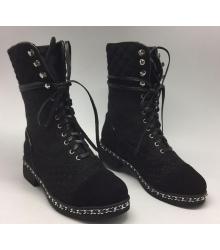 Ботинки высокие женские Chanel (Шанель) High Black