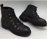 Зимние ботинки женские Chanel (Шанель) High Black