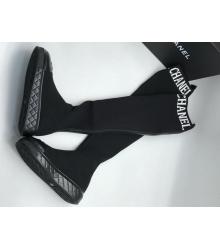 Ботфорты женские Chanel (Шанель) из текстиля на сплошной подошве Black