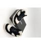 Женские кроссовки зимние Chanel (Шанель) комбинированные на меху с логотипом на шнурках White/Black