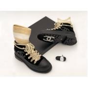 Женские ботинки Chanel (Шанель) комбинированные на шнурках с лого Black/Beige