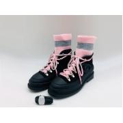 Женские ботинки Chanel (Шанель) комбинированные на шнурках с лого Black/Pink