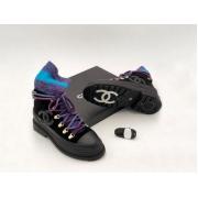 Женские ботинки Chanel (Шанель) комбинированные на шнурках с лого Black