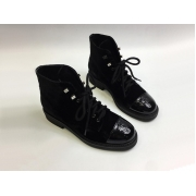 Женские ботинки Chanel (Шанель) комбинированные на шнурках с лого каблук небольшой Blac