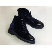 Женские ботинки Chanel (Шанель) комбинированные на шнурках с лого каблук небольшой Dark Blue