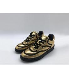 Женские кроссовки Chanel (Шанель) кожаные с логотипом Gold