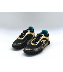 Женские кроссовки Chanel (Шанель) комбинированные с логотипом на шнурках Blac/Gold