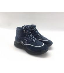 Женские зимние кроссовки Chanel (Шанель) комбинированные с логотипом на шнурках Blue