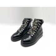 Женские кроссовки Chanel (Шанель) кожа лаковая на шнурках Black