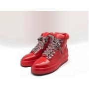 Женские кроссовки Chanel (Шанель) кожа лаковая на шнурках Red