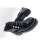 Женские ботинки Chanel (Шанель) кожа лаковая с жемчугом Black