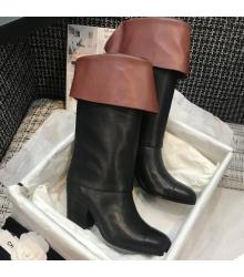 Женские сапоги Chanel (Шанель) кожа теленка каблук 6,5см Black/Brown