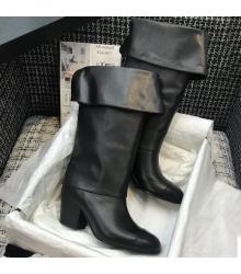 Женские сапоги Chanel (Шанель) кожа теленка каблук 6,5см Black