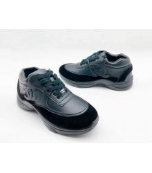 Женские кроссовки Chanel (Шанель) кожа замша на шнуровке Black