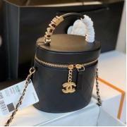 Сумка женская Chanel (Шанель) кожаная ведро на цепочке Black