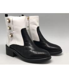 Женские полусапоги Chanel (Шанель) кожаные Black/White