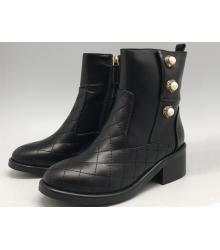 Женские полусапоги Chanel (Шанель) кожаные Black