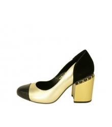 Туфли женские Chanel (Шанель) кожаные Gold/Black