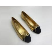 Женские балетки Chanel (Шанель) кожаные Gold/Black