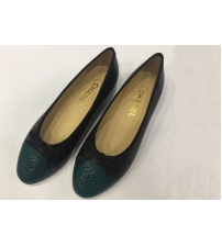 Балетки женские Chanel (Шанель) кожаные Green