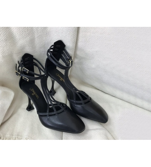 Босоножки женские Chanel (Шанель) кожаные каблук шпилька средней длины Black