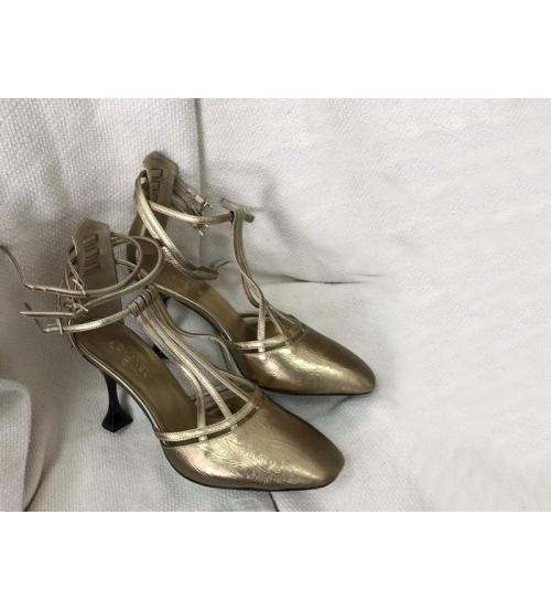 Босоножки женские Chanel (Шанель) кожаные каблук шпилька средней длины Gold
