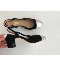 Босоножки женские Chanel (Шанель) кожаные каблук средней длины Black/Silver