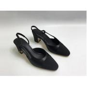 Женские балетки Chanel (Шанель) кожаные каблук средней длины Black