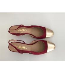 Босоножки женские Chanel (Шанель) кожаные каблук средней длины Bprdo/Gold
