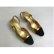 Женские балетки Chanel (Шанель) кожаные каблук средней длины Gold/Black