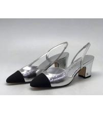 Босоножки женские Chanel (Шанель) кожаные каблук средней длины Silver/Black