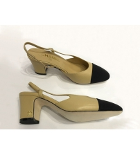 Туфли-лодочки женские Chanel (Шанель) кожаные каблук средний Beige