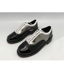 Ботинки-дерби женские Chanel (Шанель) кожаные Куба Black/Silver