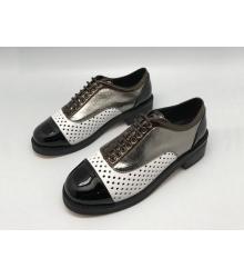 Ботинки-дерби женские Chanel (Шанель) кожаные Куба Black/White/Silver