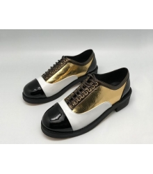 Ботинки-дерби женские Chanel (Шанель) кожаные Куба White/Gold