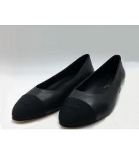 Балетки Chanel (Шанель) кожаные на каблуке Black