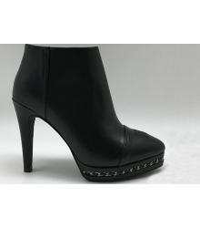 Ботильоны женские Chanel (Шанель) кожаные на каблуке Black