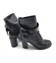 Женские ботильоны Chanel (Шанель) кожаные на среднем каблуке Black