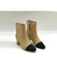 Ботильоны женские Chanel (Шанель) кожаные на каблуке на молнии Beige/Black